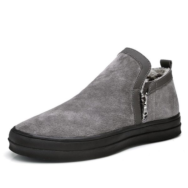 Martin Boots Male High Shoes Retro Trend Of Korean Men In Autumn And Winter With Warm Cotton Cashmere Men Leather Boots British