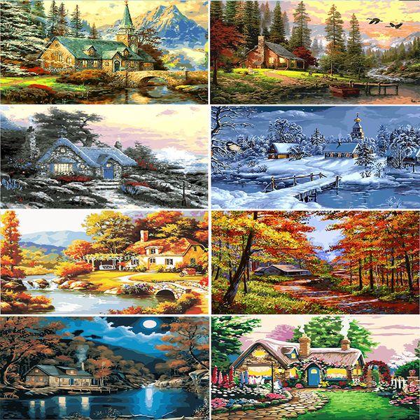 Digital Diy pintura por números pintado a mano paisaje de la cabina del bosque lienzo pinturas al óleo sala de estar cuadros de la pared decoración del arte