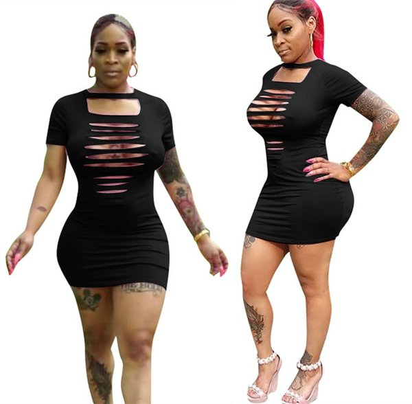 Sexy abiti stretti per le donne Night Club Abbigliamento manica corta Abiti casual Bra Hole Solid Black Sexy Night Club Lady