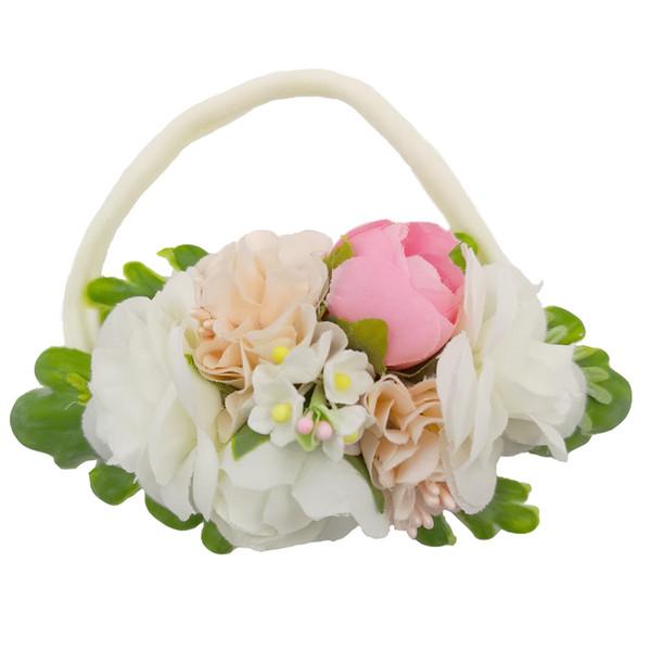 Beautiful Wedding Ivorie Artificial Flower Crown Soft Elastic Nylon Headbands For Newborn Kids Girls Women Baby Headband Hair Accessories