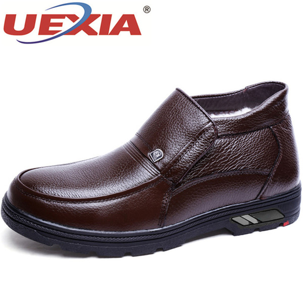 UEXIA Men Boots Winter With Fur Warm Snow Boots Men Winter Leather Footwear Rubber Ankle Shoes Cotton Party&Wedding