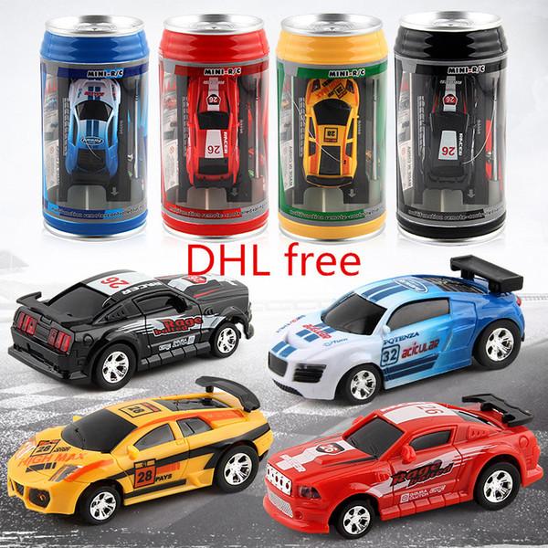 DHL free 4color Mini-Racer Remote Control Car Coke Can Mini RC Radio Remote Control Micro Racing 1:45 car for Kids