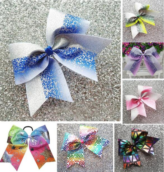 2018 NEW Blue Silver Glitter Ombre Cheer Bow Cheerleading Dance Hair Bow 7.5inch hair bow with Elastic rubber band Hair accessories 20pcs