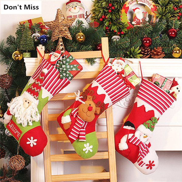 Christmas Tree Ornaments Santa Claus Snowman Elk Christmas Stockings Birthday Gift Bags Xmas Party Decoration Candy Gift Holders