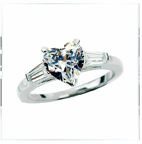 S925 Ladder Side Mount 2CT Heart Reliable Synthetic Diamonds Ring Promise Jewelry Sterling Silver Wedding Ring White Gold Color