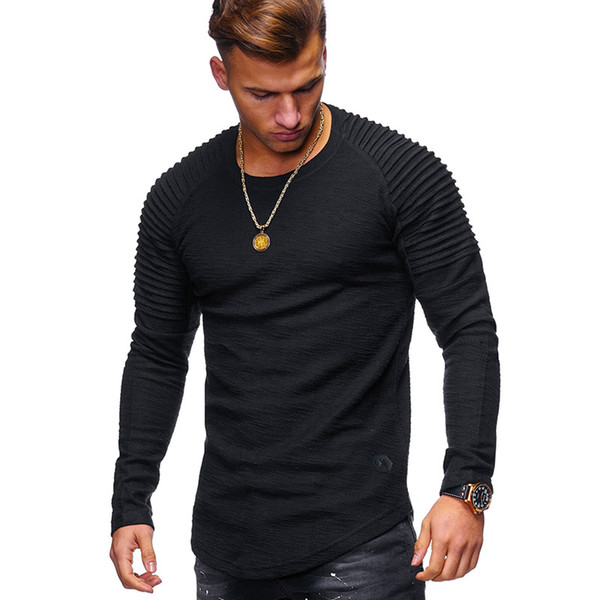 Hot 2018 New Spring Marque De Mode O-cou Slim Fit À Manches Longues T Shirt Hommes Tendance Casual T-Shirt Europe et Amérique T-shirts