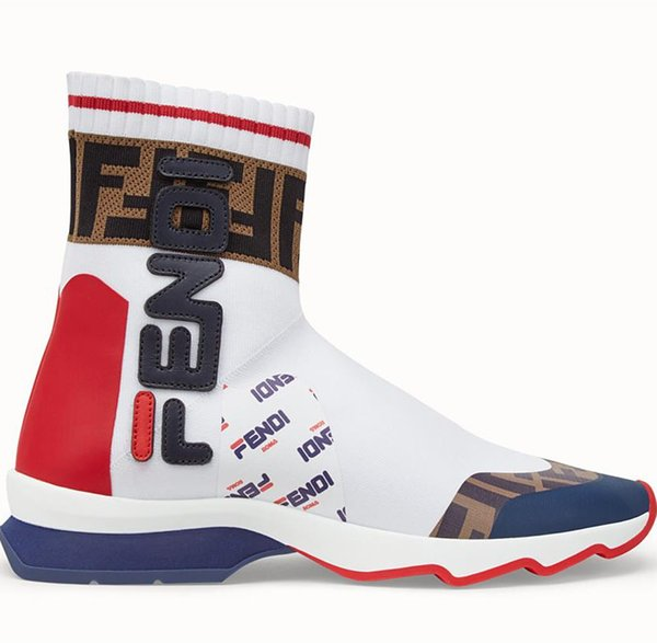 Branded Women Stretch Multicolour Fabric High-tops Running Sneaker Boots Designer Lady Mania Appliqué Sock Undulating Rubber Sole Shoes