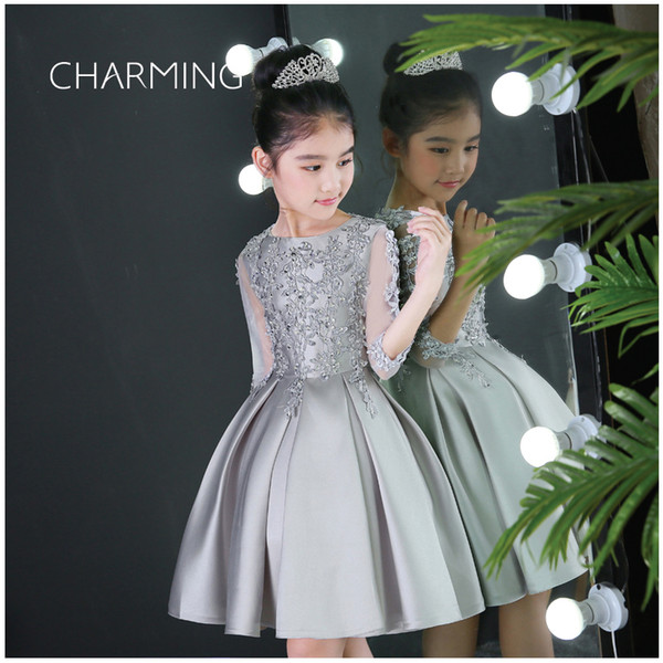 Silver Wedding Dresses Sale Suitable For Flower Girl Dress For Kid Embroidered Dress Girl Party Wear Western Dress Beaded Prom Dresses