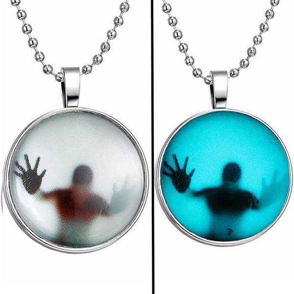 Collier lumineux, Europe Amérique Halloween Creative Gem lumineux illuminé pendentif alliage de chaîne claviculaire rond foncé DIY bijoux femmes