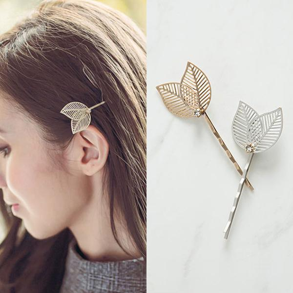 factory direct fashion 2 color metal leaves Hair clips pretty hairpins
