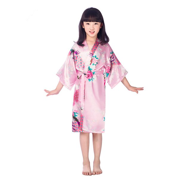 Pink Peacock Kids Robe Satin Children Kimono Robes Bridesmaid Flower Girl Dress Silk children's bathrobe Nightgown robe 2-14