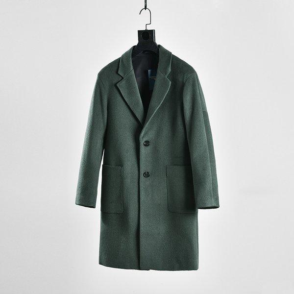 Yeni Kore Moda Gevşek Boy Sonbahar Kış Uzun Yün Ceket Erkekler Kalınlaşmak Rahat Yün Palto Mont Erkek Ma50123