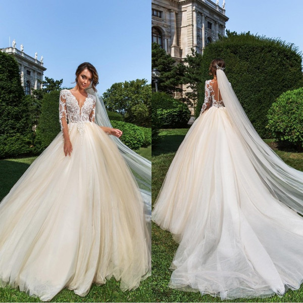 Crystal Design Sheer Jewel Neck Lace Ball Gown Wedding Dresses 2019 With Long Sleeves Champagne Plus Size Wedding Dress Bridal Gowns
