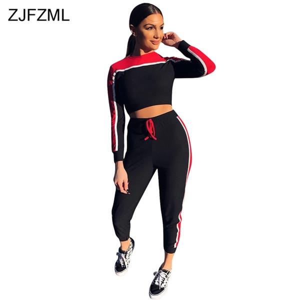 ZJFZML Black Red Contrast Color Sexy Set de dos piezas Mujeres Full Sleeve O Neck Short Shirt y Casual Cordón Side Striped Pant