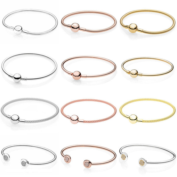 Moments Smooth Ball Clasp Mesh Letter Signature Clip Suitable Bracelet Fit Snake Bangle 925 Sterling Silver Bead Charm