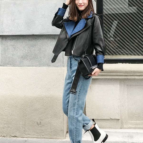 2018 New Fashion Women Autunm Winter Black Faux Leather Patchwork Denim Jackets Lady Cool Outerwear Coat With Belt Hot Sale