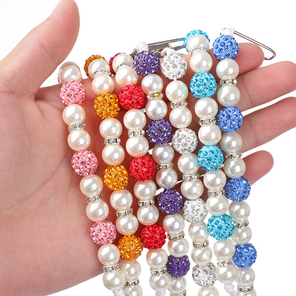 1PC Crystal Baby Kids Boy Girl Plastic Beaded Pacifier Holder Clip Nipple Teether Dummy Strap Chain Soother Chain For Baby Gifts