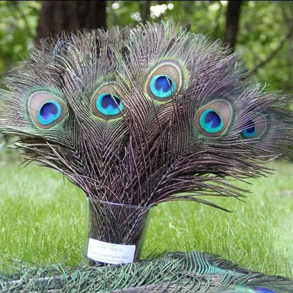 eacock feather eye 100pcs Beautiful Natural Peacock Feather Eyes for DIY Dress Clothes Decorated Home Wedding Decoration 8-12 Inches Plum...