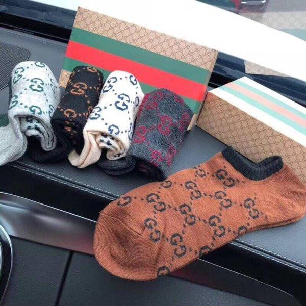 5 paires / boîte chaussettes de luxe Mode Sport Casual Mens chaussettes unisexe hiver automne femmes chaussettes de designer Taille libre