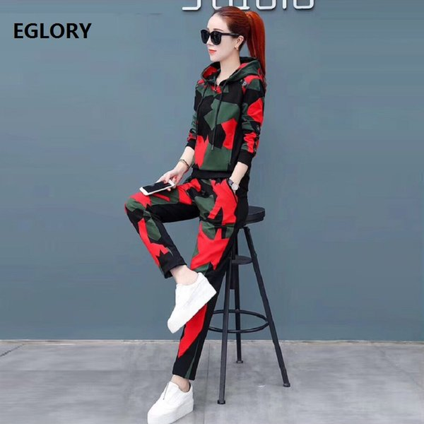 New Korean Fashion Clothing Suit Hoodies Set Women Cute Rainbow Color Print Hoodies Sweater+Skinny Knitted Pant Suit Sweater Set
