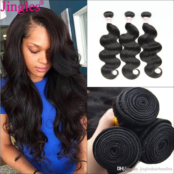 Wholesale 9A Grade Raw Indian Virign Hair Bundles JinglesHair Cuticle Aligned Remy Human Hair Weaves Extensions 8-28 inches Natural Black