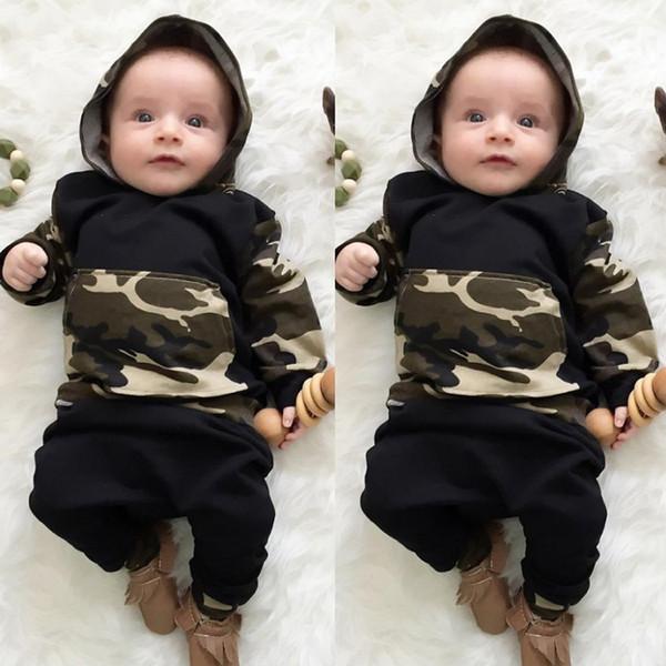 Roupas de bebê Tops com capuz Calças Baby boy Camuflagem Vestuário Inverno de mangas compridas terno 2 pcs Set