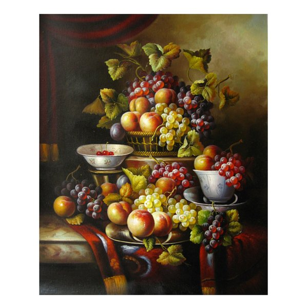 Oil Painting Prints on Canvas Wall Art Picture for Living Room Home Decorations Unframed Hand-painted oil painting wine fruit SHD4-026