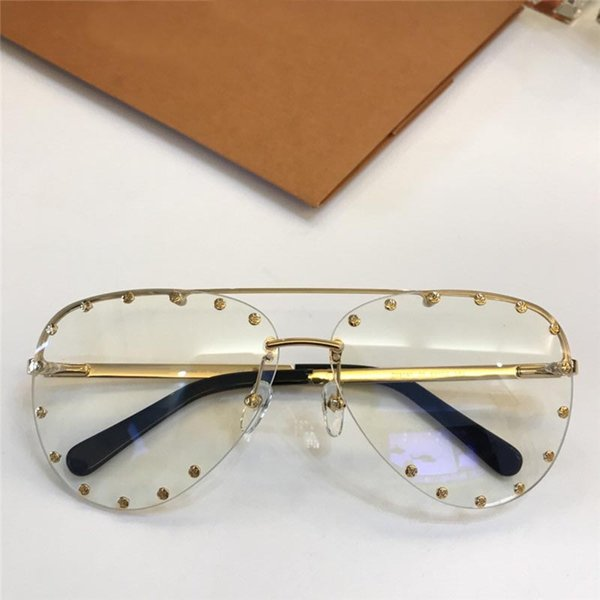 best selling New fashion designer optical glasses 09140 pilot frameless with rivets popular style top quality protection eyewear