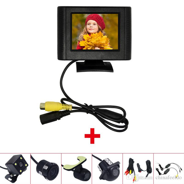 Car 2.5 Inch LCD TFT Monitor With Rear View Parking Camera RCA Video System 2.4G Wireless & Cigarette Lighter Optional #4317
