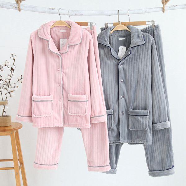 Casual Couple Pajama Sets Autumn Winter Pajama Suit Flannel Pyjamas for Women Long Sleeve Two Piece Set Tops and Pants Sleepwear