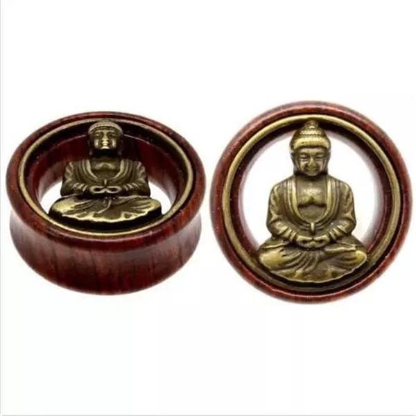 2 UNIDS Moda figura de Madera de Buda Ear Expansion Ear Plug Túnel Camilla Expander Gauges Body Piercing Joyería regalo
