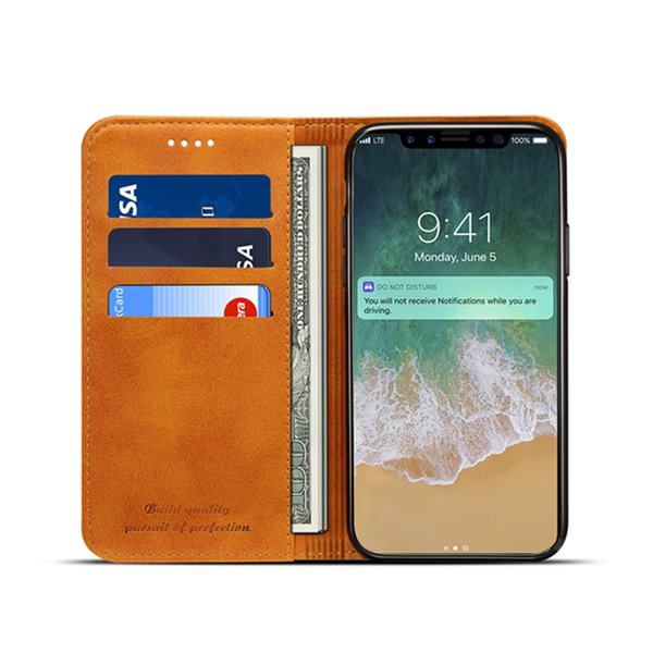 For iPhone XS Max XR Leather Clamshell Case Cover Card Inserting Leather Against Falling Protective Cover For iPhone X 6 7 8 Plus