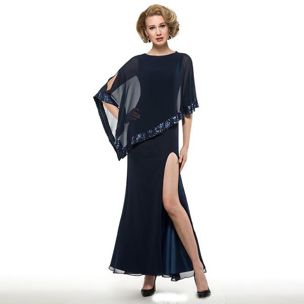 Bainha azul marinho colher chiffon lateral dividir a mãe dos vestidos de noiva com um envoltório de lantejoulas tornozelo comprimento da mãe vestidos