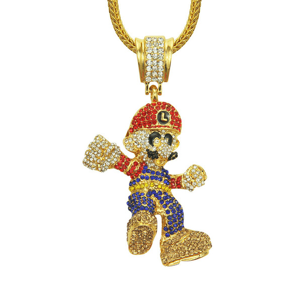 Wholesale unisex gold plated Hip hop jewelry necklace for men Cartoon crystal Eco-friendly zinc alloy hip hop slide pendant necklace