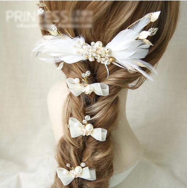 New hot sale handmade feather gold headdress wedding dress rhinestone flower accessories bridal jewelry