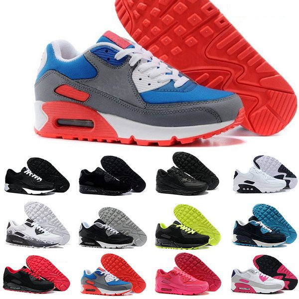 Acquista Nike Air Max 90 Airmax E DonnaScarpe Scarpe Classiche 90 Scarpe Da Corsa Nero Rosso Bianco Sport Trainer Cuscino Scarpe Sportive Di