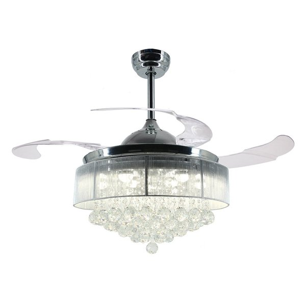 36 Inch 42 Inch Modern Led Ceiling Fan Retractable Blades Crystal Chandelier Fan With Remote Control Chandeliers Ceiling Light Lamp Bathroom