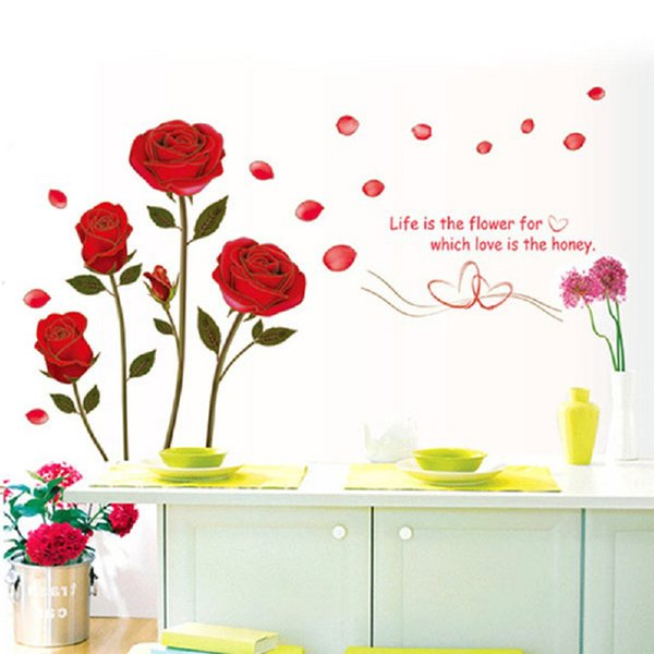 DIY Wall Sticker Romantic Red Rose Delightful Backgroud Art Decor Mural Decal Living Room Bedroom Sofa TV Wall Stickers