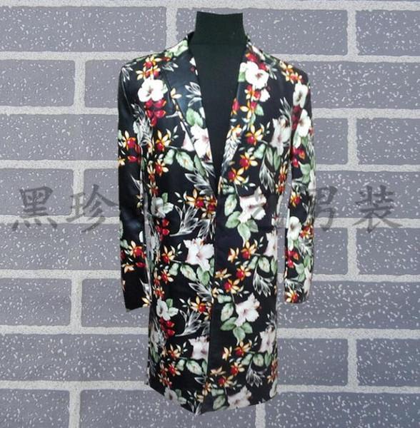 Medium-long Leather Clothes Men Flower Suits Designs Stage Costumes For Singers Men Blazer Dance Jacket Star Style Dress Punk