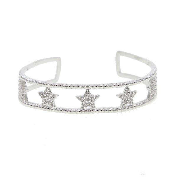 Bijoux fantaisie bohème double couches bracelet jonc étoiles avec shinning cz charme manchette ouverte bracelets pour les femmes Nouveau
