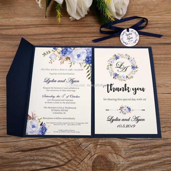 Trifold Pocket Wedding Invites 2019 Navy Blue Printable Customized Evening Invitations With Rsvp Card Envelope Free Shipped By Dhl Printed