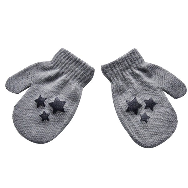 Baby Kids Five-pointed star Pattern Gloves Boys Girls Winter Warm Knitted Mittens gray Free Shipping