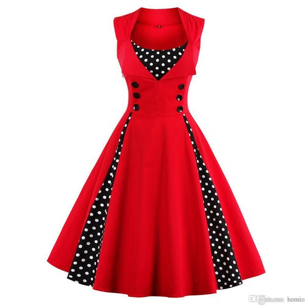discount shades of the latest 2019 Wholesale Women 5XL New 50s 60s Retro Vintage Dress Polka Dot  Patchwork Sleeveless Spring Summer Red Dress Rockabilly Swing Party Dress  From ...