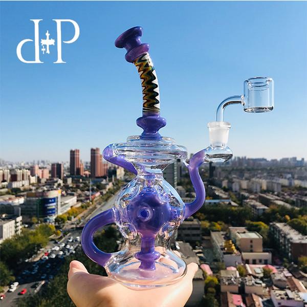 PlusPlus Glasbong Wasserpfeife 007L Recycler einzigartig Lavendel und verdrehte Halsfarbe berauschende Kunstpfeife mit Percolator 8.3 Höhe 14mm Buchse