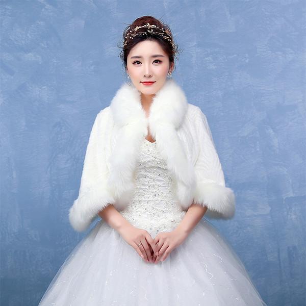 Yeni Moda Gelin Sarar Uzun Kollu Faux Fur Şal Ceket Düğün Balo Parti Kadınlar Kış Giyim Sıcak Bolero Için Ucuz 2019