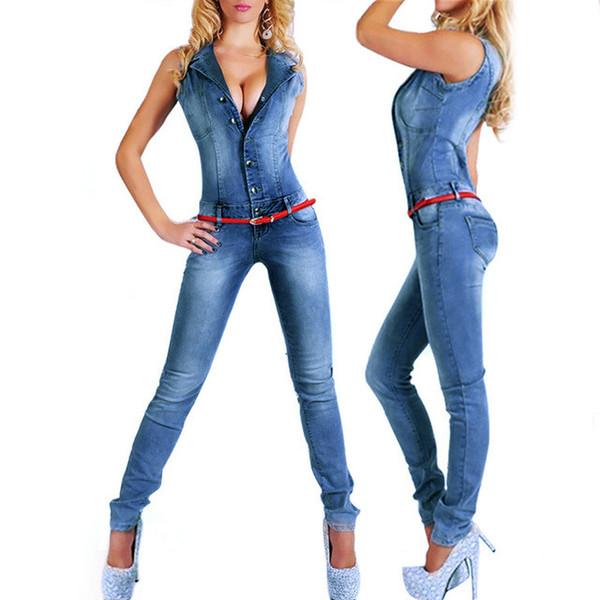 Catonatoz 2043 New Arrival Sleeveless Jumpsuit Jeans Sexy Bodysuit Women Denim Overalls Rompers Girls Pants Jeans Ladies
