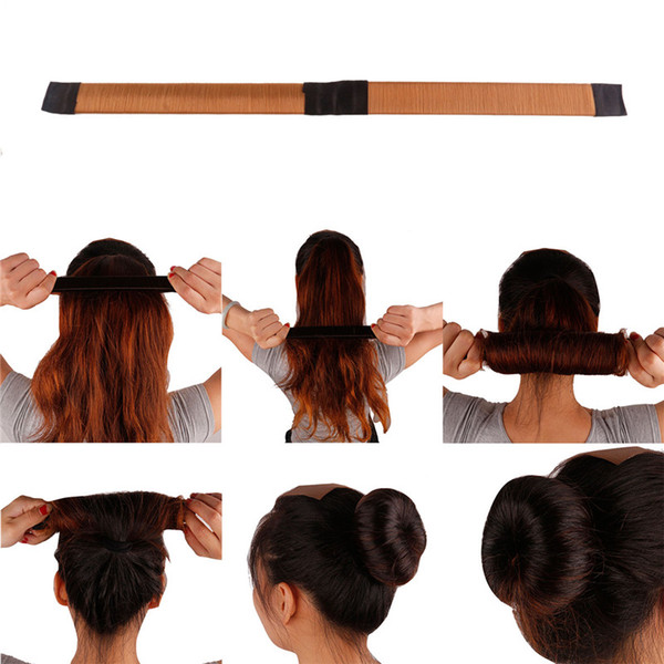 best selling French Hair Ties Girl Hair Diy Styling Donut Former Foam Twist Magic Tools Bun Maker Black Brown Coffee 3006017