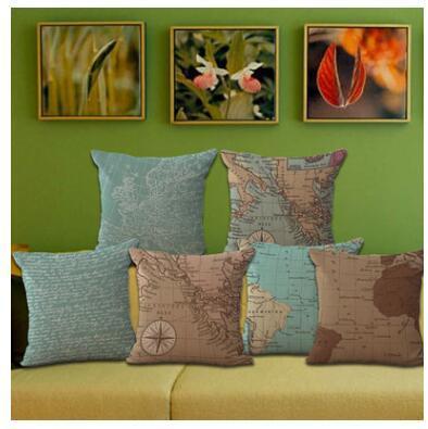 Mappa del mondo stile mediterraneo stampato cotone lino federa copertura del divano divano auto cuscino sham poltrona per soggiorno camera da letto sala studio