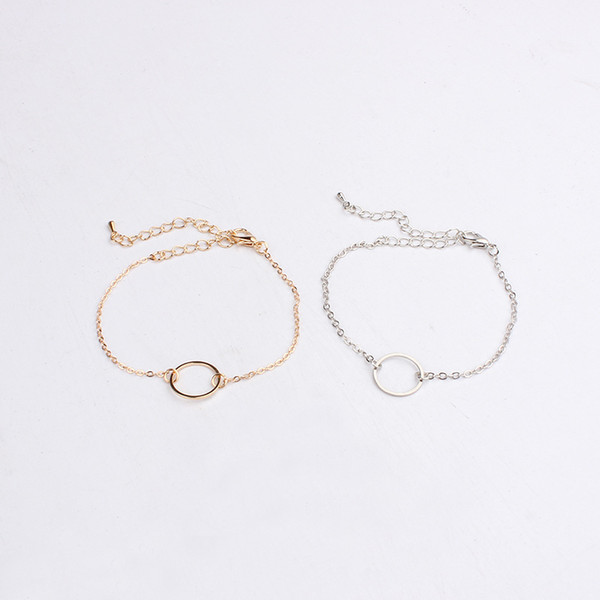 2018 new pierced snake chain minimalist hollow circle exquisite bracelet fashion personality gold and silver double color jewelr