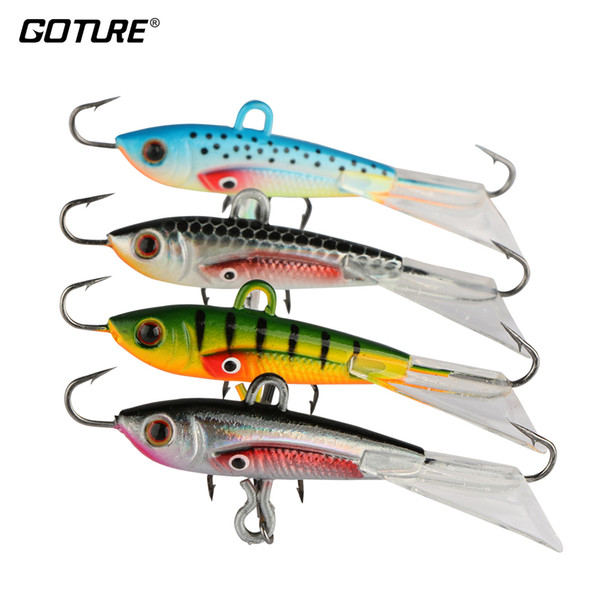 lure minnow Goture Winter Ice Lure Minnow Hard Artificial Bait Pesca Carp Fishing for Bass Walleye Trout Panfish and Pike 4pcs